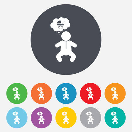 crawlers: Baby infant think about buggy sign icon. Toddler boy in pajamas or crawlers body symbol. Round colourful 11 buttons. Vector