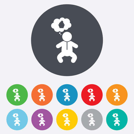 crawlers: Baby infant think about food sign icon. Toddler boy in pajamas or crawlers body symbol. Round colourful 11 buttons. Vector