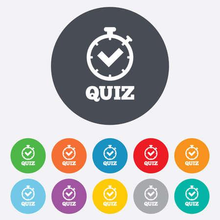 kwis: Quiz timer teken pictogram. Vragen en antwoorden spelsymbool. Ronde kleurrijke 11 toetsen. Vector Stock Illustratie