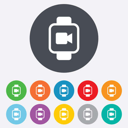 watch video: Smart watch sign icon. Wrist digital watch. Video camera symbol. Round colourful 11 buttons. Vector