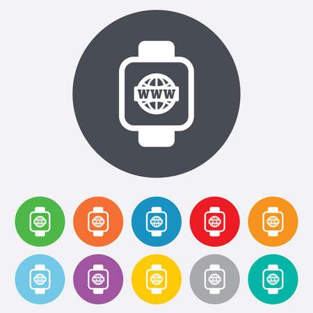 www arm: Smart watch sign icon. Wrist digital watch. Globe internet symbol. Round colourful 11 buttons. Vector Illustration