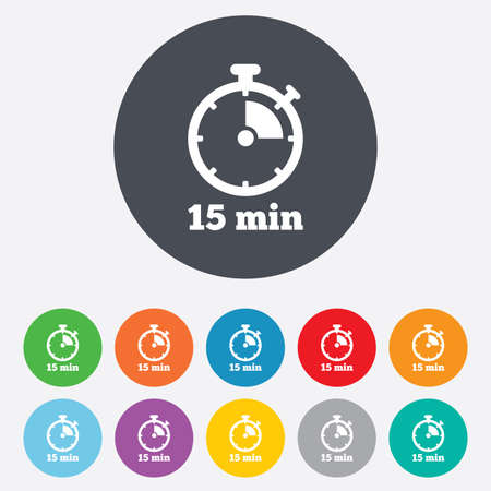 min: Timer sign icon. 15 minutes stopwatch symbol. Round colourful 11 buttons. Vector
