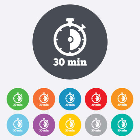 min: Timer sign icon. 30 minutes stopwatch symbol. Round colourful 11 buttons. Vector