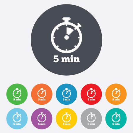 min: Timer sign icon. 5 minutes stopwatch symbol. Round colourful 11 buttons. Vector Illustration