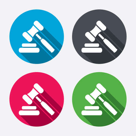 auction gavel: Auction hammer icon. Law judge gavel symbol. Circle buttons with long shadow. 4 icons set. Vector Illustration
