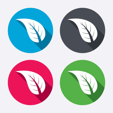 Leaf sign icon. Fresh natural product symbol. Circle buttons with long shadow. 4 icons set. Vector Vector