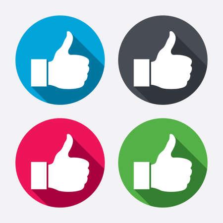 記号のアイコンのようなサインアップ親指します。シンボルを手指。長い影と円のボタン。4 つのアイコンを設定します。ベクトル