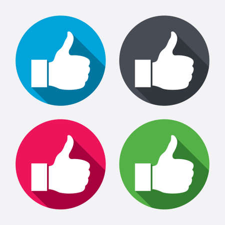 Like sign icon. Thumb up sign. Hand finger up symbol. Circle buttons with long shadow. 4 icons set. Vector Illusztráció