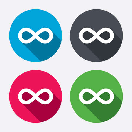 eternally: Limitless sign icon. Infinity symbol. Circle buttons with long shadow. 4 icons set. Vector Illustration