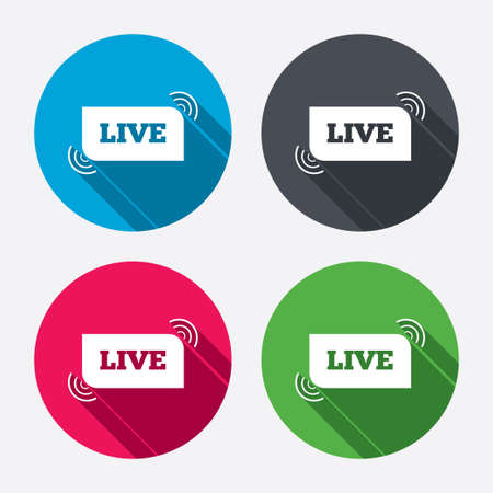 long live: Live sign icon. On air stream symbol. Circle buttons with long shadow. 4 icons set. Vector
