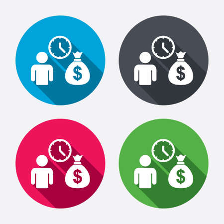 borrow: Bank loans sign icon. Get money fast symbol. Borrow money. Circle buttons with long shadow. 4 icons set. Vector Illustration