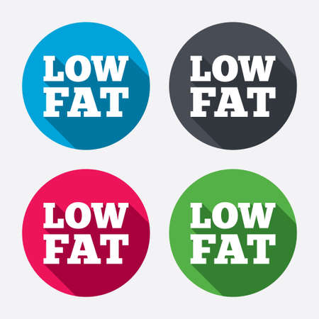 low fat: Low fat sign icon. Salt, sugar food symbol. Circle buttons with long shadow. 4 icons set. Vector