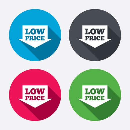 Lage prijs pijl teken pictogram. Speciale aanbieding symbool. Cirkel knoppen met lange schaduw. 4 iconen set. Vector Stock Illustratie