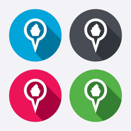 Map pointer food sign icon. Restaurant location marker symbol. Circle buttons with long shadow. 4 icons set. Vector Vector