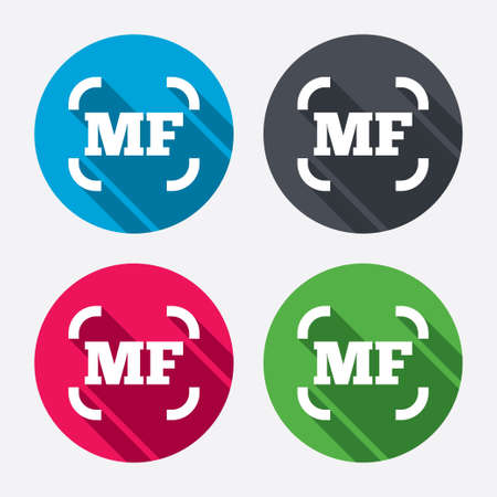 focus on shadow: Manual focus photo camera sign icon. MF Settings symbol. Circle buttons with long shadow. 4 icons set. Vector Illustration