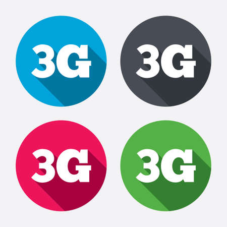 telecommunications technology: 3G sign icon. Mobile telecommunications technology symbol. Circle buttons with long shadow. 4 icons set. Vector