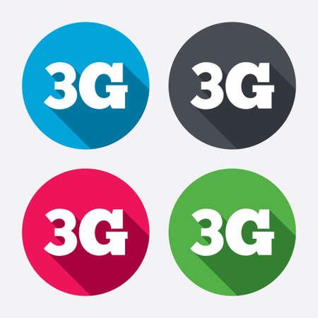 3g: Icono de se�al 3G. Telecomunicaciones m�viles s�mbolo tecnolog�a. Botones de c�rculo con larga sombra. 4 iconos conjunto. Vector