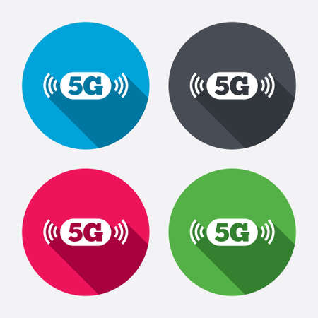 telecommunications technology: 5G sign icon. Mobile telecommunications technology symbol. Circle buttons with long shadow. 4 icons set. Vector
