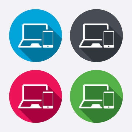 Mobile devices sign icon. Notebook with smartphone symbol. Circle buttons with long shadow. 4 icons set. Vector