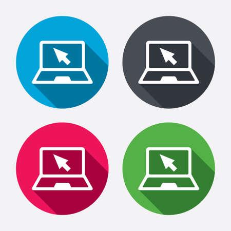 Icono de la muestra el portátil. PC Portátil con símbolo puntero del cursor. Botones de círculo con larga sombra. 4 iconos conjunto. Vector