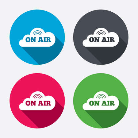 long live: On air sign icon. Live stream symbol. Circle buttons with long shadow. 4 icons set. Vector Illustration