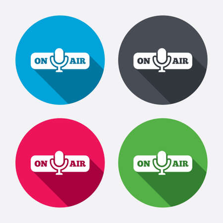 long live: On air sign icon. Live stream symbol. Microphone symbol. Circle buttons with long shadow. 4 icons set. Vector