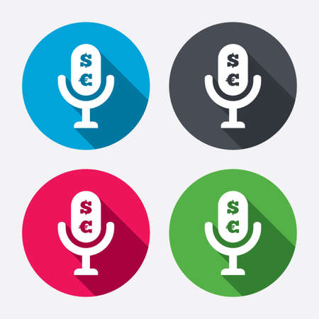 usr: Microphone icon. Speaker symbol. Paid music sign. Circle buttons with long shadow. 4 icons set. Vector
