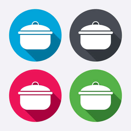 stew: Cooking pan sign icon. Boil or stew food symbol. Circle buttons with long shadow. 4 icons set. Vector Illustration