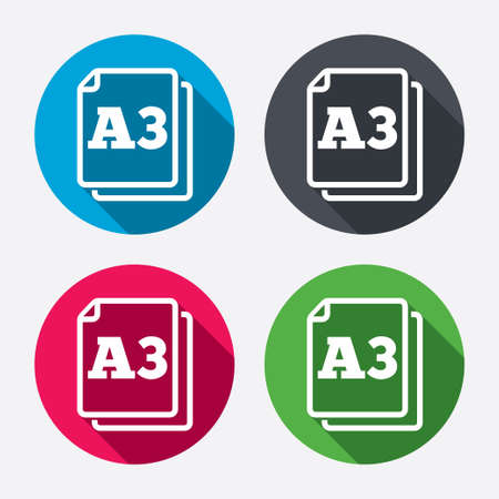 a3: Paper size A3 standard icon. File document symbol. Circle buttons with long shadow. 4 icons set. Vector