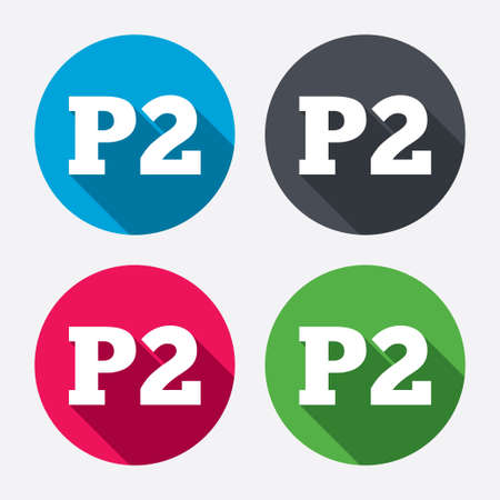 second floor: Parking second floor sign icon. Car parking P2 symbol. Circle buttons with long shadow. 4 icons set. Vector Illustration