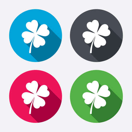 clover buttons: Clover with four leaves sign icon. Saint Patrick symbol. Circle buttons with long shadow. 4 icons set. Vector