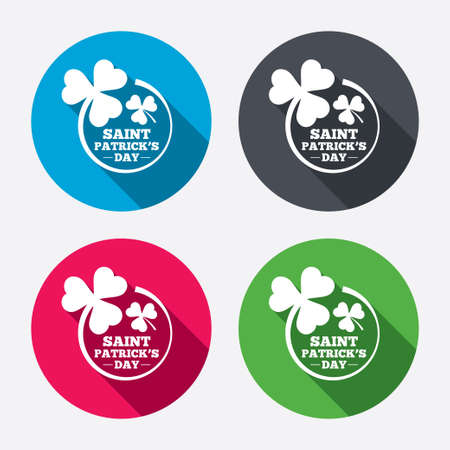 shamrock clovers: Clovers in circle with three leaves sign icon. Saint Patrick trefoil shamrock symbol. Circle buttons with long shadow. 4 icons set. Vector
