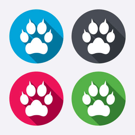 clutches: Dog paw with clutches sign icon. Pets symbol. Circle buttons with long shadow. 4 icons set. Vector