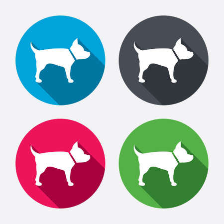 dog allowed: Dog sign icon. Pets symbol. Circle buttons with long shadow. 4 icons set. Vector