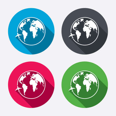 Airplane sign icon. Travel trip round the world symbol. Circle buttons with long shadow. 4 icons set. Vector Vector