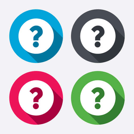 Question mark sign icon. Help symbol. FAQ sign. Circle buttons with long shadow. 4 icons set. Vector