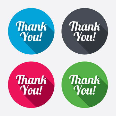 thanks a lot: Thank you sign icon. Customer service symbol. Circle buttons with long shadow. 4 icons set. Vector