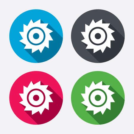 cutting blade: Sierra circular icono de la muestra de la rueda. Cortar s�mbolo de la cuchilla. Botones de c�rculo con larga sombra. 4 iconos conjunto. Vector