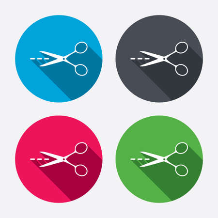 Scissors with cut dash dotted line sign icon. Tailor symbol. Circle buttons with long shadow. 4 icons set. Vector Illustration