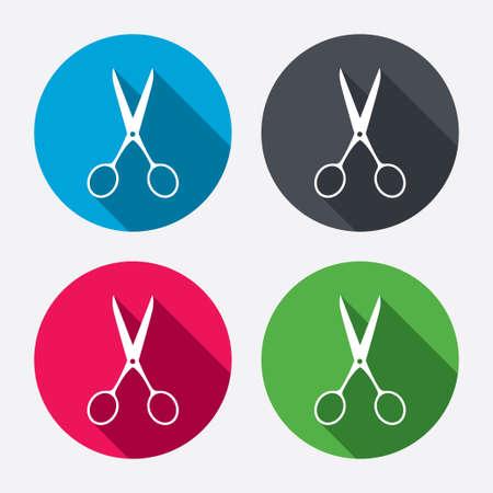 tijeras: Tijeras peluquer�a signo icono. S�mbolo Sastre. Botones de c�rculo con larga sombra. 4 iconos conjunto. Vector