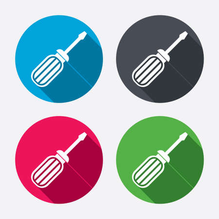 Screwdriver tool sign icon. Fix it symbol. Repair sign. Circle buttons with long shadow. 4 icons set. Vector Vector