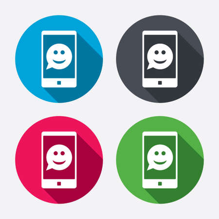 Selfie smile face sign icon. Self photo symbol. Smiley speech bubble. Circle buttons with long shadow. 4 icons set. Vector Vector