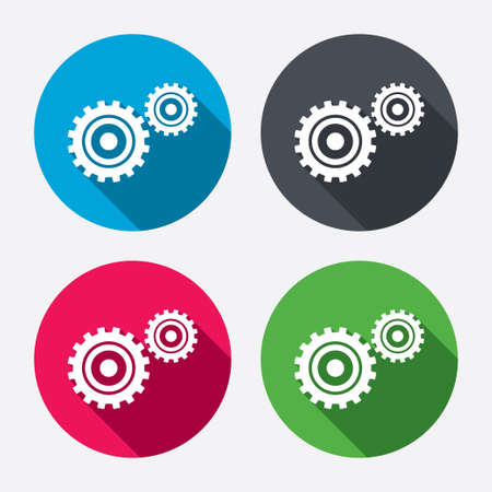 Cog settings sign icon. Cogwheel gear mechanism symbol. Circle buttons with long shadow. 4 icons set. Vector Vector