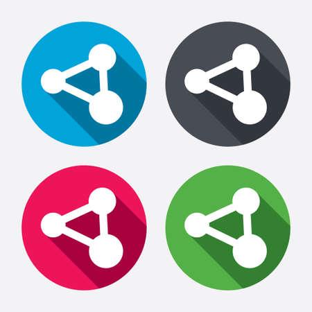 Compartir icono de signo. Símbolo de la tecnología Link. Botones de círculo con larga sombra. 4 iconos conjunto. Vector Ilustración de vector