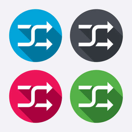shuffle: Shuffle sign icon. Random symbol. Circle buttons with long shadow. 4 icons set. Vector