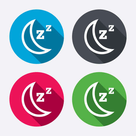 standby: Sleep sign icon. Moon with zzz button. Standby. Circle buttons with long shadow. 4 icons set. Vector