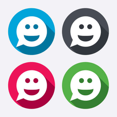 Smile face sign icon. Happy smiley chat symbol. Speech bubble. Circle buttons with long shadow. 4 icons set. Vector Illustration