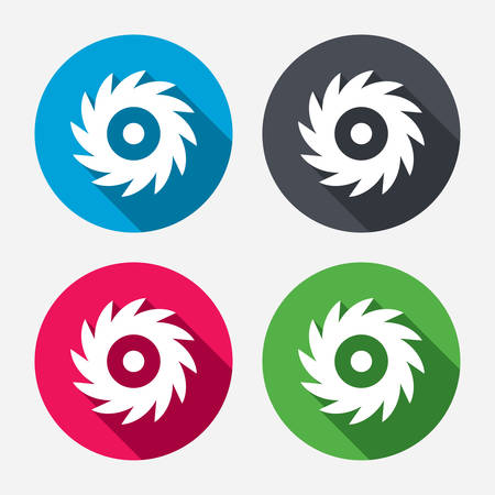 4 wheel: Saw circular wheel sign icon. Cutting blade symbol. Circle buttons with long shadow. 4 icons set. Vector