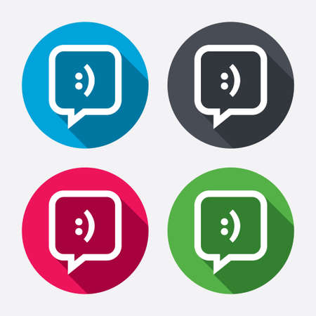 Chat sign icon. Speech bubble with smile symbol. Communication chat bubbles. Circle buttons with long shadow. 4 icons set. Vector Vector