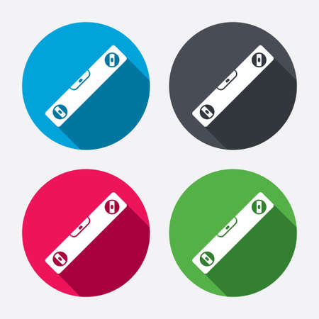 bubble level: Bubble level sign icon. Spirit tool symbol. Circle buttons with long shadow. 4 icons set. Vector